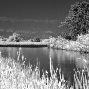 Photo infrarouge du Canal du midi à Saint Nazaire