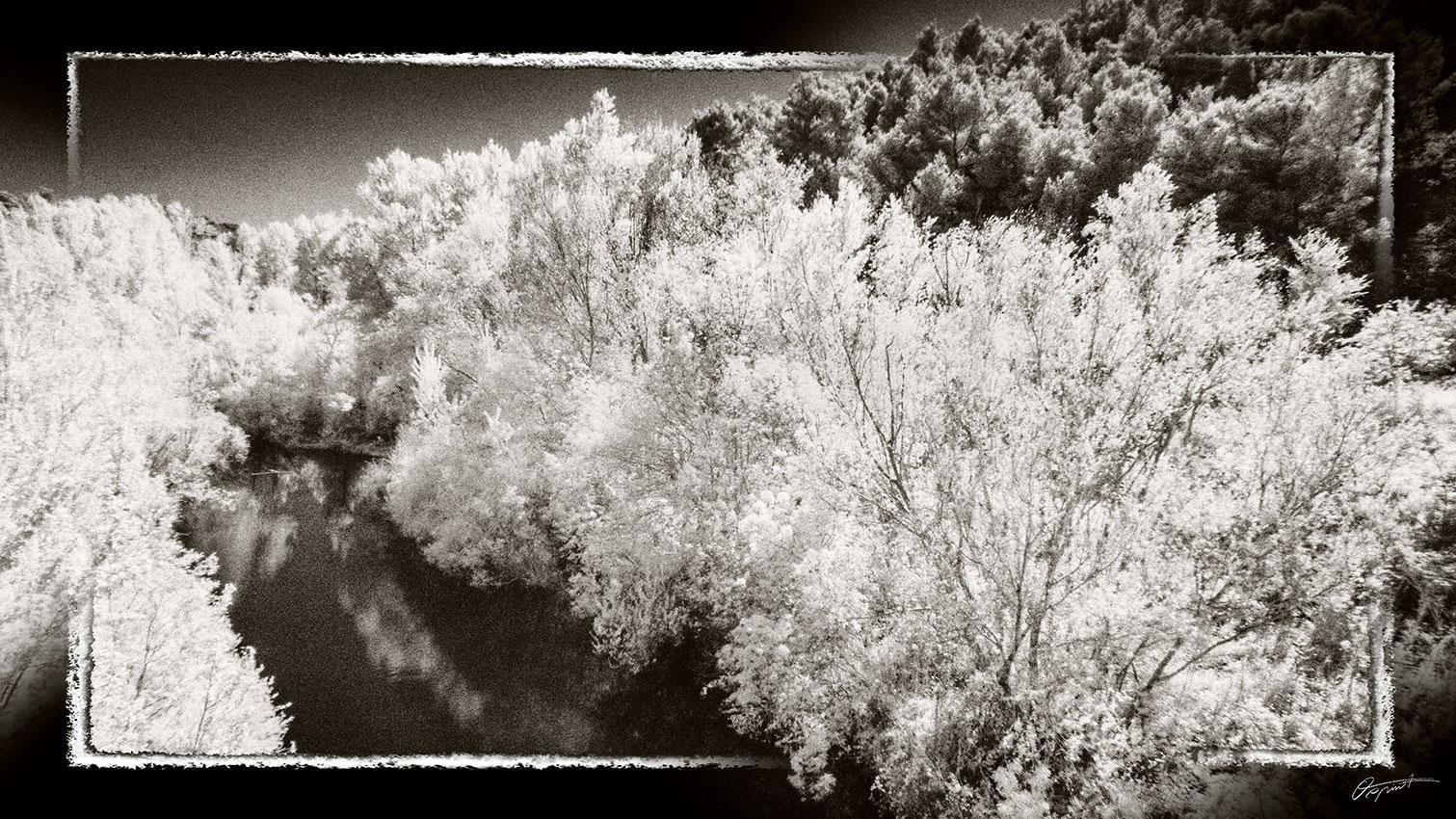 Photo infrarouge Noir et blanc de la Nielle à Fabrezan dans l'Aude